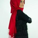 kırmızı İpek Şal Modelleri